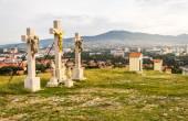Fotografie Jesus Christus-Kreuz auf dem Kalvarienberg
