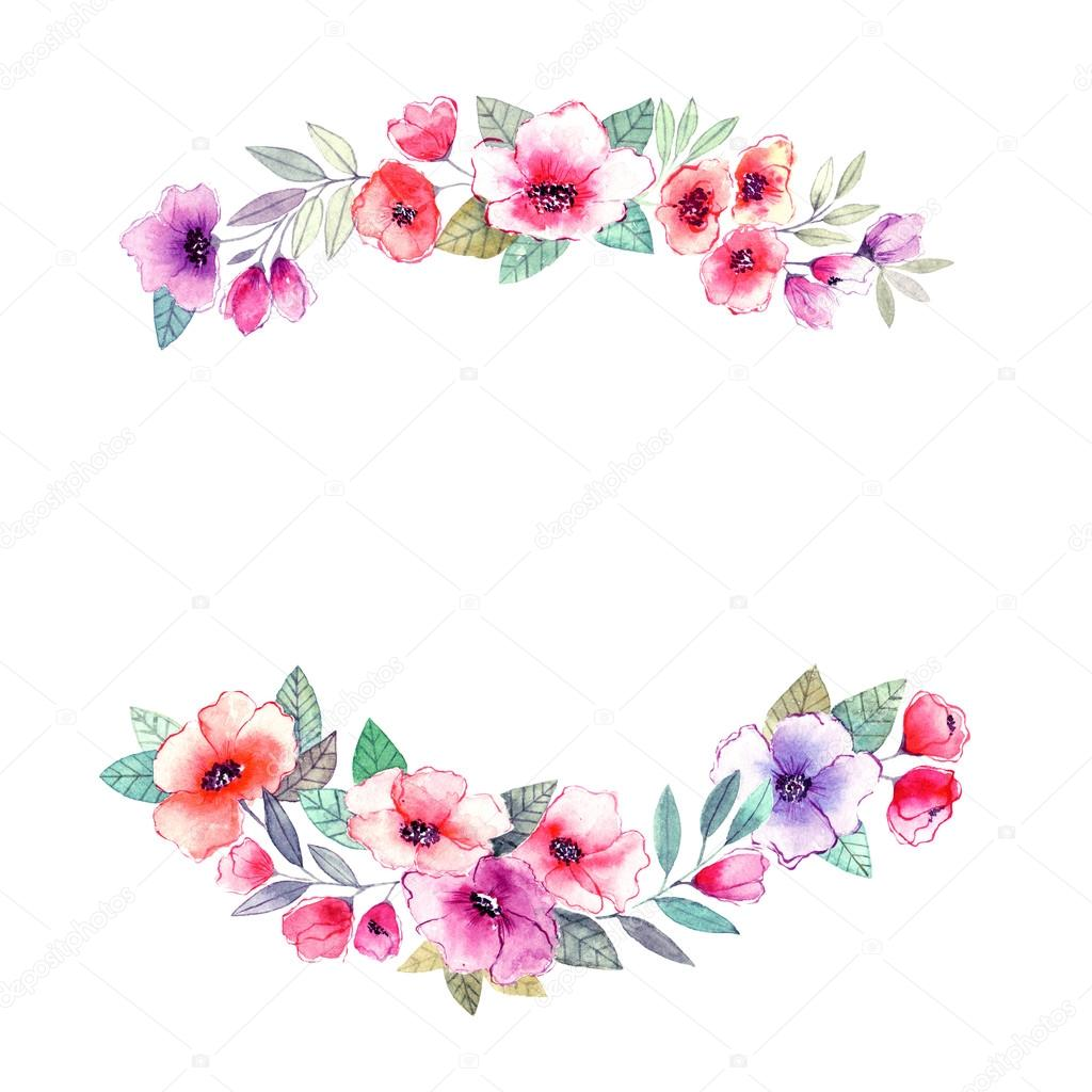 Watercolor Floral frame. — Stock Photo © oaurea #89746814