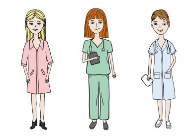 Female doctor profession set