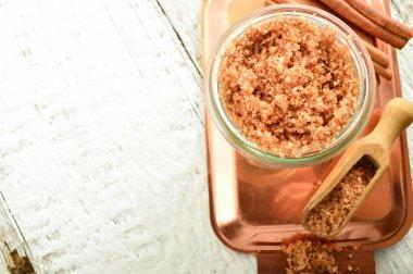 Body scrub - brown sugar with cinnamon.
