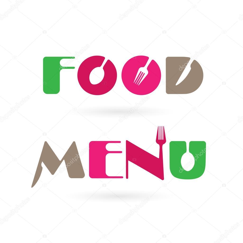 Diseño de elementos de cocina creativa meun palabra insignia con ...