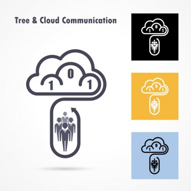 Tree and cloud logo vector design template. Computer, data sign
