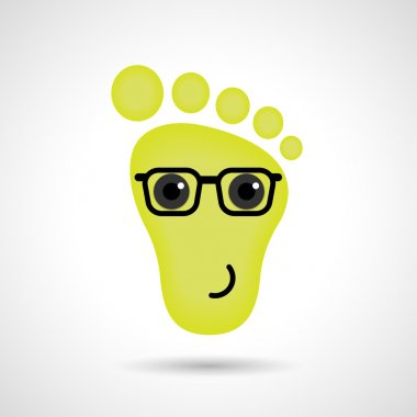Funny feet emoticon icon. Feet emotions sign. Vector illustratio