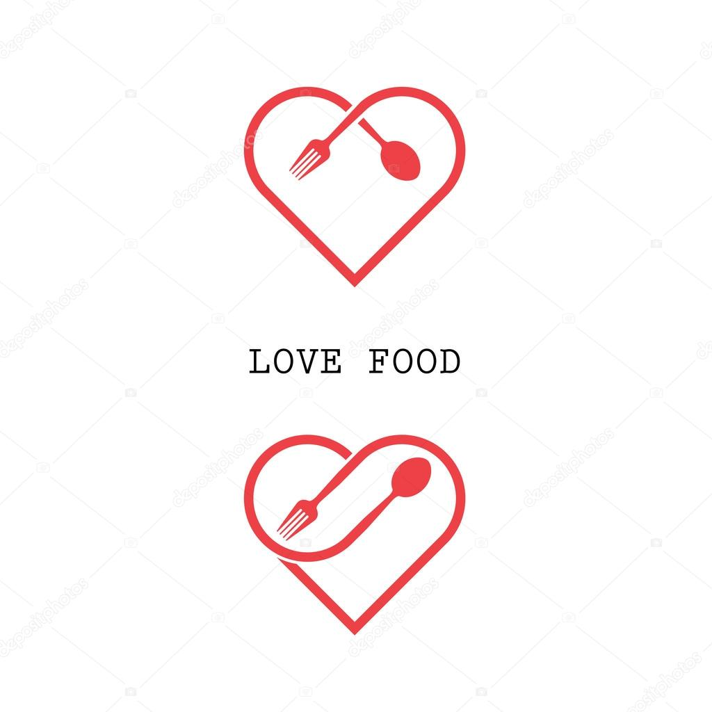 spoon and fork logo with red heart shape vector design