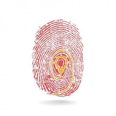 Creative light bulb idea concept with fingerprint symbol. Educat