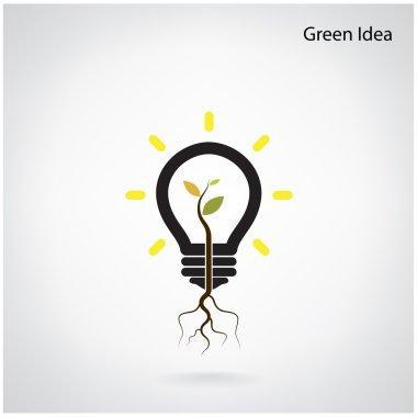 Tree of green idea shoot grow in a light bulb
