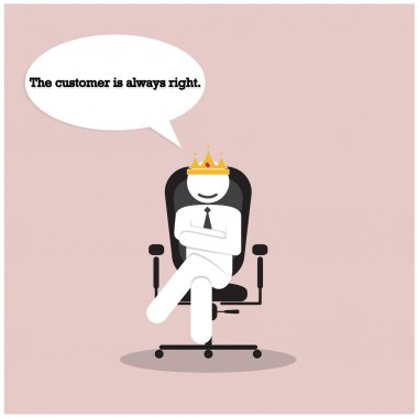 The customer is always right concept. Businesss comic symbol
