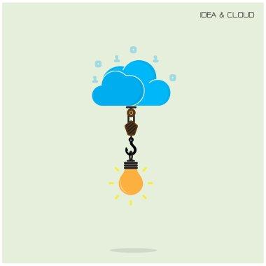 Flat cloud technology computing and creative bulb idea concept.