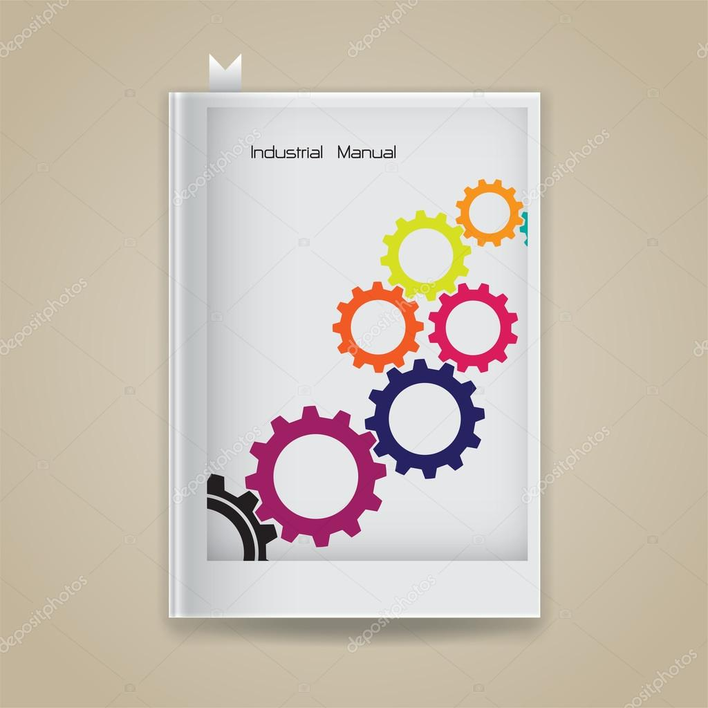 Colorful gear symbol with industrial concept on blank book cover.