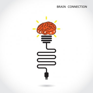 Creative light bulb symbol and brain connection sign. Business a