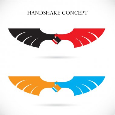 Handshake abstract design concept template. Business creative lo