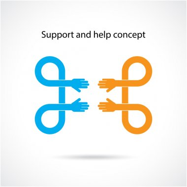 Support and help concept, teamwork hands concept, handshake conc