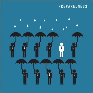 Businessman standing out from the crowd. Business idea and prepa