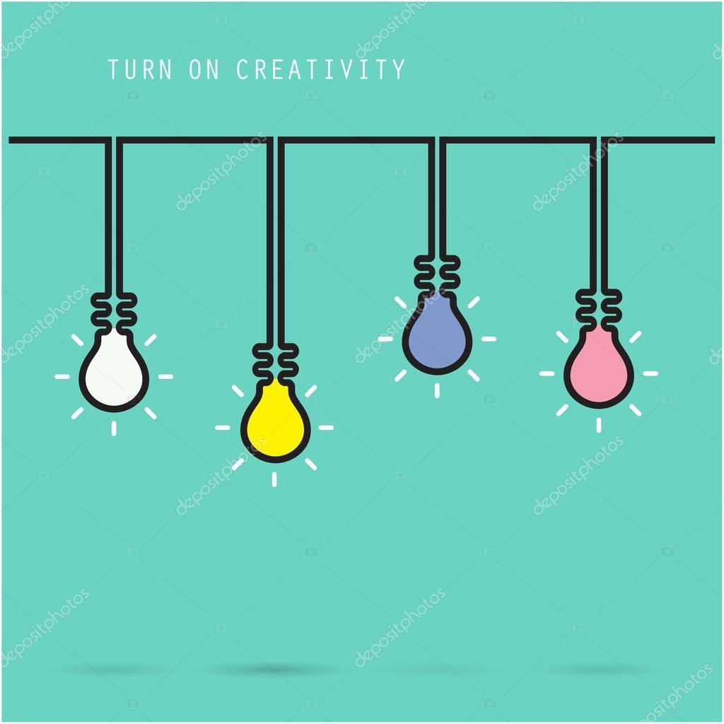 Creative light bulb symbol with turn on creativity concept, educ