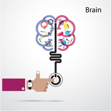 Brain opening concept.Creative brain abstract vector logo design