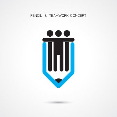 Creative pencil and people icon abstract logo design vector temp
