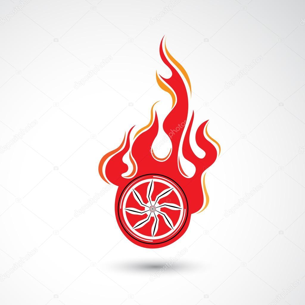 Rueda en plantilla de vector de diseño de Logo de fuego llama ...