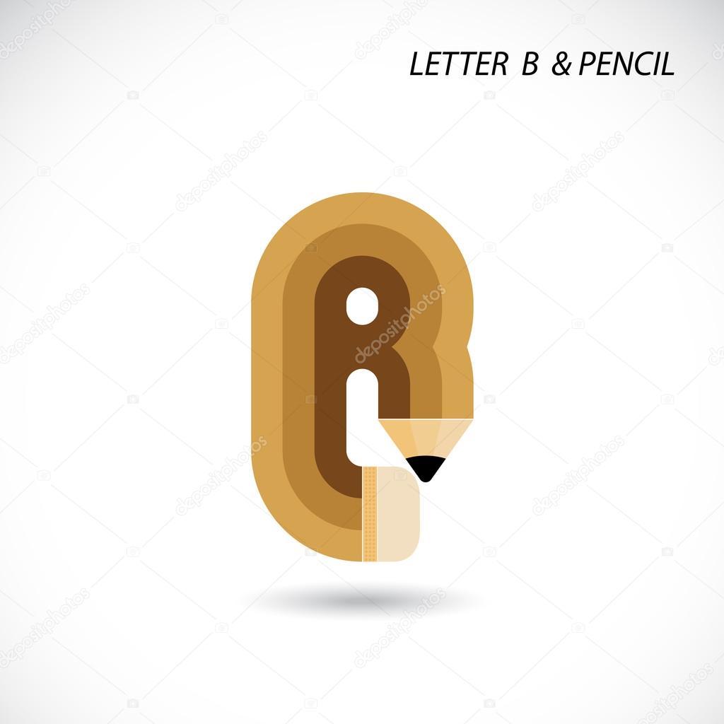 Kreatives Schreiben b Symbol abstrakte Logo Vektor Entwurfsvorlage ...