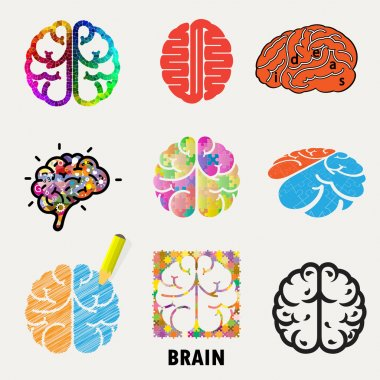 Collection of brain, creation and idea icons and elements.Creati