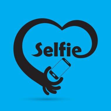 Taking selfie portrait photo on smart phone concept icon. Selfie concept design element. Vector illustration stock vector
