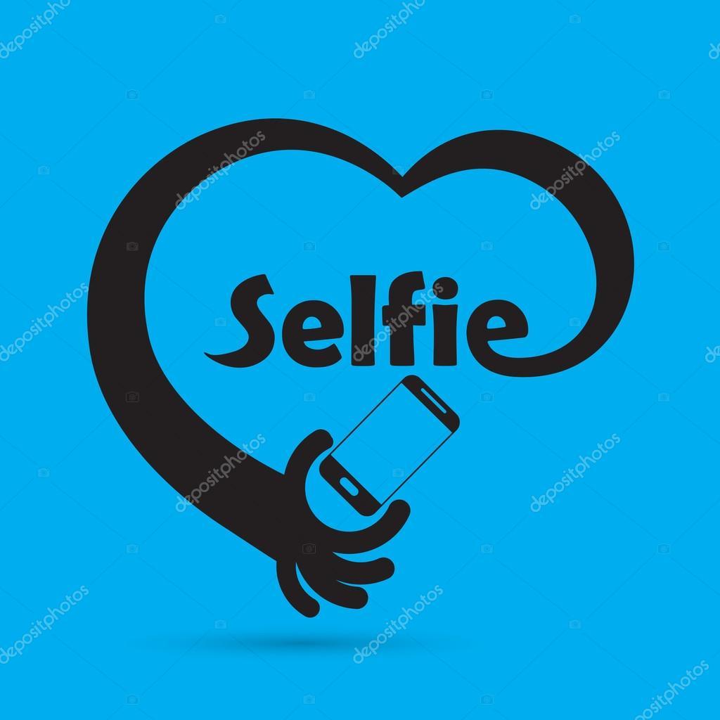 Taking selfie portrait photo on smart phone concept icon. Selfie