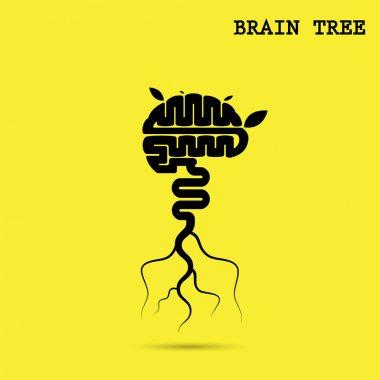 Creative brain tree abstract vector logo design template.Corpora
