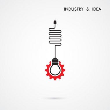 Creative light bulb and gear abstract vector design banner templ