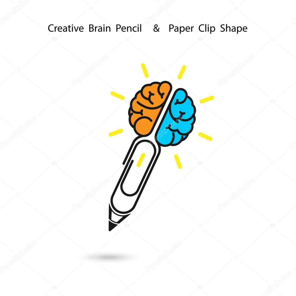 Creative Brain Pencil Logo DesignPaper Clip SignConcept Of Ide