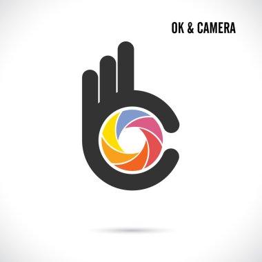 Creative hand and camera lens abstract logo design.Hand Ok symbo