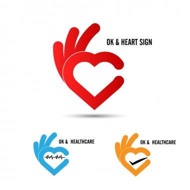 Creative hand and heart shape abstract logo design.Hand Ok symbo