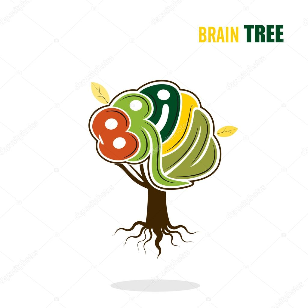 Abstract vector brain tree logo template.Think green concept.Bus