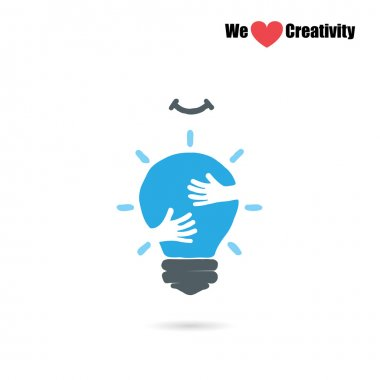 Creative light bulb logo design vector template with small hand.