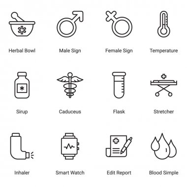 Modern thin line icons set of hospital and healthcare professionals and medical equipment. Simple symbols for app development and website design. Pack of stroke icons. icon