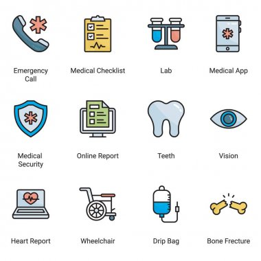 Thin pixel-perfect color line icons, of hospital and healthcare professionals and medical equipment. Simple symbols for app development and website design. Pack of vector line editable stroke icons. icon