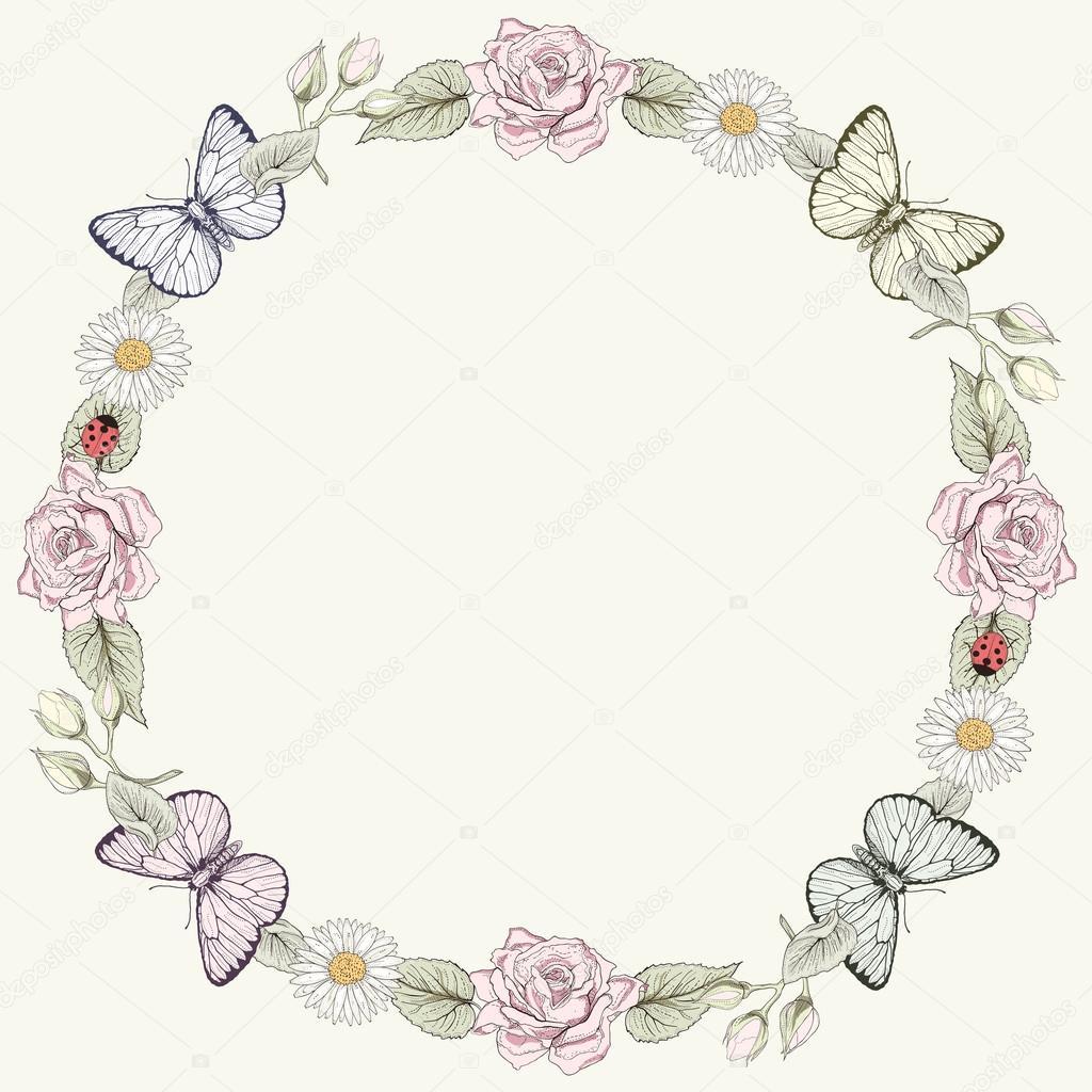 Marco de flores y mariposas en estilo de grabado — Archivo Imágenes ...