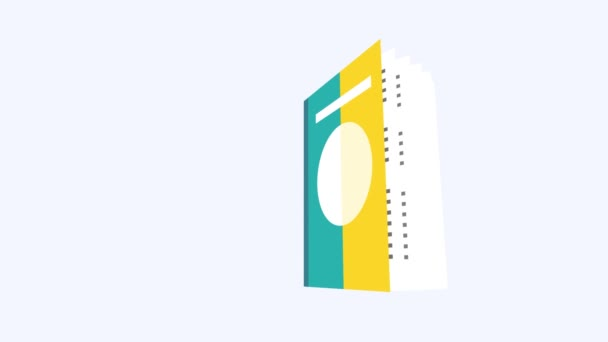 Book open animation with White background, book animation with White background, flipping book pages animation