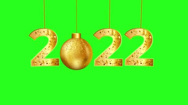 2022 Nový rok, Krásný 2022 Nový rok Čísla Ozdoby na pozadí zelené obrazovky - 2022 Nový rok Oslava na zelené obrazovce Chroma klíčové pozadí, Zlatá 2022 na zelené obrazovce