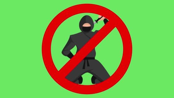Kein Ninja in Nahaufnahme mit dem grünen Bildschirm, ein Ninja mit einem Schwert, kein Ninja-Zeichen