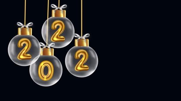 2022 új év, újév Karácsonyi labdák sötét háttér, 2022 Szilveszter Ünnepe egy fekete háttér, Golden 2022 tovább