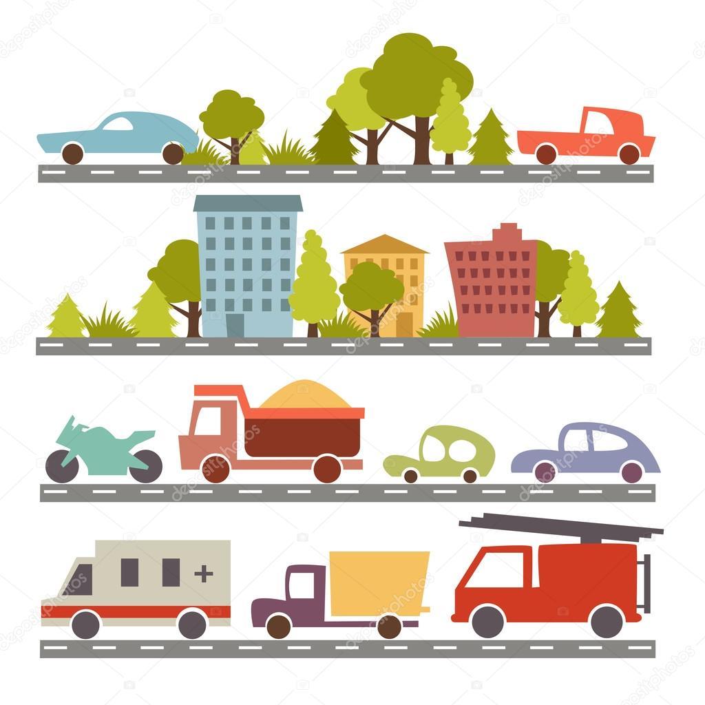 carros de desenho animado e ruas da cidade vetor de stock