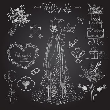 wedding ceremony icons set