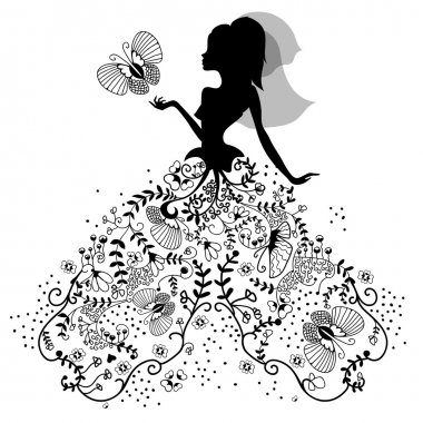silhouette of bride with butterfly