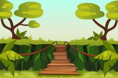 bridge  over the precipice in the  jungle.