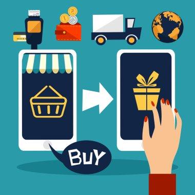 Internet shopping. smartphone. flat design.