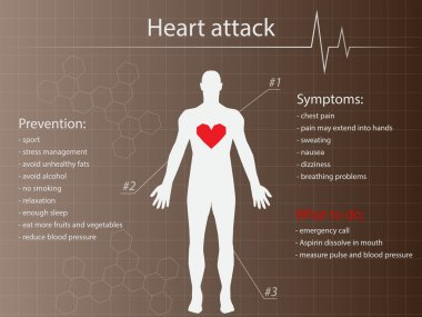 Heart attack infographic background with man silhouette stock vector