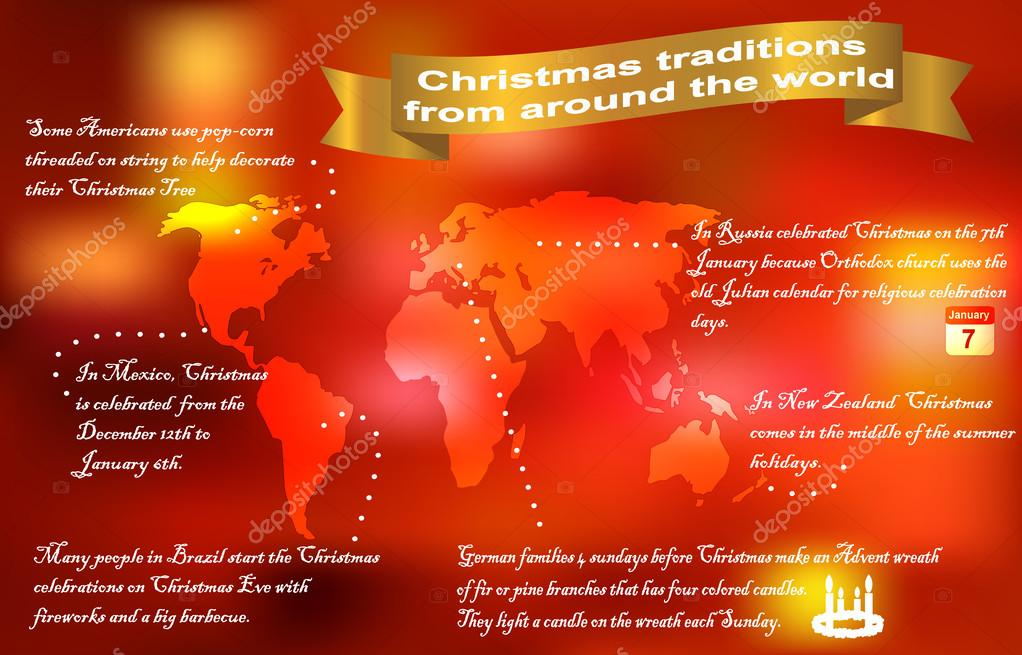 Christmas Traditions Around The World.Christmas Traditions Around The World Stock Vector