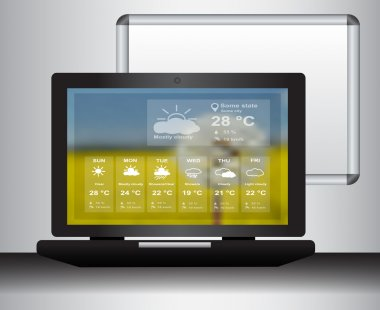 Laptop with weather web page