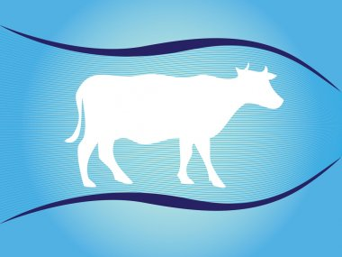 White silhouette of cow on blue background with waves