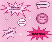 Vegans and vegetarians retro style comics icons