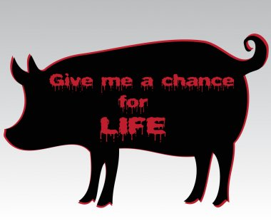 Silhouette of pig with vegetarian slogan